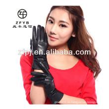 Damas de piel de oveja populares de color negro de cuero de pantalla táctil guantes
