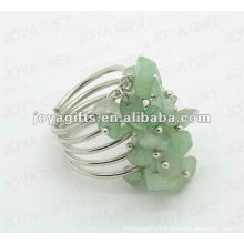 Green Aventurine chip stone wrap rings