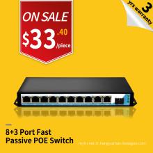 IP caméra 8 POE port 3 uplink port passif POE 24 V sortie injecteur Commutateur prix