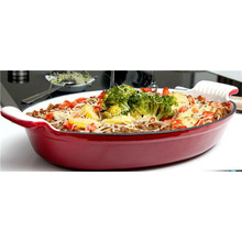 High quality oval enamel coating cast iron gratin pan/souce pan/dish
