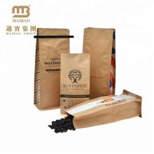 Bolsas de bolsas de válvula de café de fondo plano de papel Kraft de empaquetado de alimentos impresa personalizado