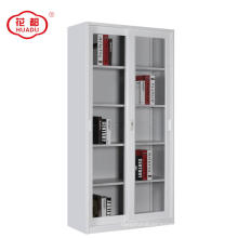 Steel office furniture sliding 2 glass door file storage display cupboard cabinet