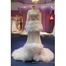 Long Sleeve Feather Bridal Evening Wedding Dress