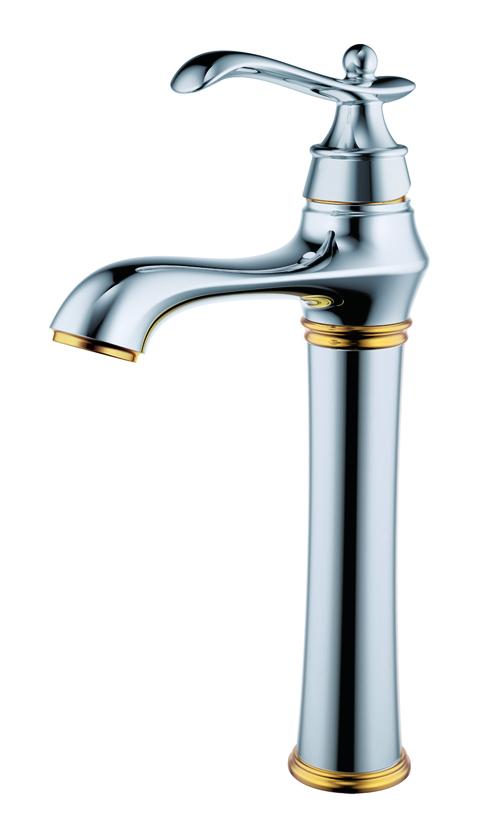 Chrome brass single lever bathroom basin faucet tall