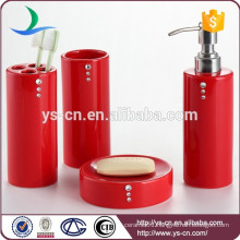 Diamond design ceramic bathroom accessory ,Red bathroom accessory set