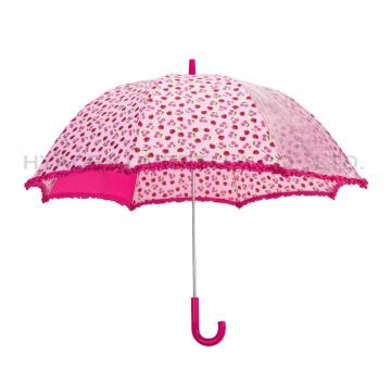 Cute Strawberry Printed Kids Safety Open Umbrella