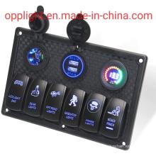 6 Gang Boat Rocker Switch Panel with Fuse on off Switch Digital Voltmeter 12V Cigarette Socket Dual USB Power Charger Adapter Flush Mount Socket Electrical Swit