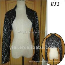 HJ3 liberan la chaqueta gruesa no transparente transparente de encargo de la boda de la alta calidad del cordón negro hermoso por encargo de la alta calidad
