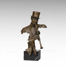 Bustos estatua de latón Oboe músico decoración bronce escultura Tpy-487