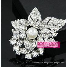 Flor de la perla de la manera y broches iniciales del rhinestone de la hoja