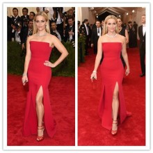 MGC23 Fashion Reese Witherspoon Met Gala 2015 Red Mermaid Side Split Evening Gowns Celebrity Dresses