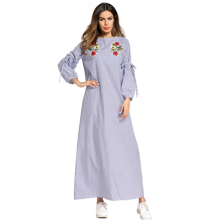 Middle eastern fashion modern elegant women embroidery flower stripe long maxi Islamic Muslim dress kurta