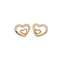 Heart Shaped Stud Earring Inlaid Zircons