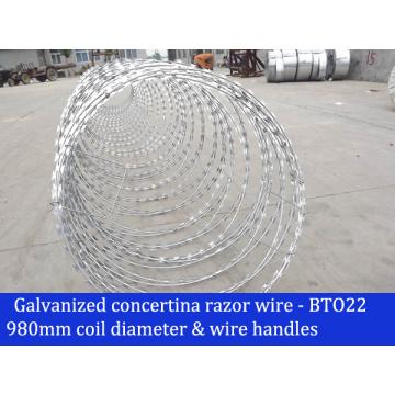 400mm - 1200mm Diamètre de la bobine Galvanisé Concertina Razor Wire Bto22