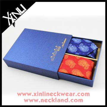Wooden Packaging Gift Boxes for 2 Ties Set Paper Necktie Box