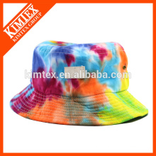 Cheap and fashion tie dyed bucket hat with logo patch