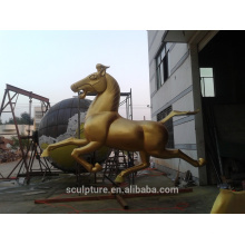modern metal brass horse sculpture outdoor running horse sculpture