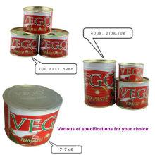 Gino Qualité 2200 G Pâte de tomate en conserve avec boîte ouverte normale