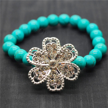 Turquoise 8MM Round Beads Stretch Gemstone Bracelet with Diamante alloy Flower Piece