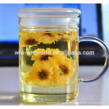 Taza de té de cristal delgada grande al por mayor de la burbuja al por mayor