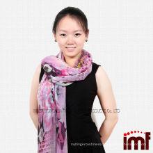 Cashmere & Modal Blend Girls Pink Leaf Flower Scarf Wraps