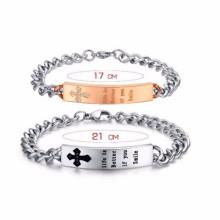 Cheap custom unisex made metal tags logo slogan bracelets