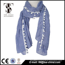light blue color attached pom tassel cotton scarf