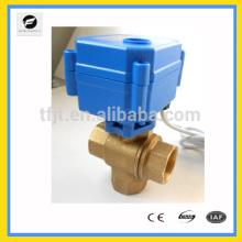 Válvula de motor eléctrica de 3 vías DC12V de cierre de latón para equipo detector de fugas de agua, sistema de agua de autocontrol