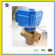 DC12V Brass shut-off 3-way electric operated motor valve for Water leaking detector equipment,auto-control water system