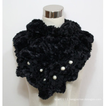 Lady Faux Fur Fashion Scarf with Pearls (YKY4365A-1)