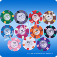 9.5g 3-Tone Pure Clay Horseshoe Engraved Sticker Chip (SY-C10)