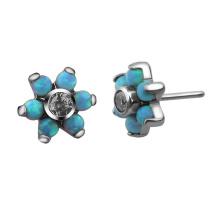 Flower Opal Prong Setting Zircon Titanium Threadless Top Body Piercing Jewelry Accessories