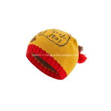 Bonnet de Noël tricoté avec boules de jacquard pour garçon fille
