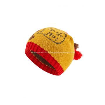 Gestrickte Jacquardkugeln-Weihnachtsmützen-Mütze des Jungenmädchens