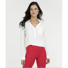 Camisa de oficina Tops de mujer Blusa con cuello en v de manga larga