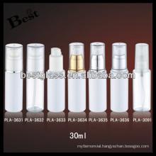 30ml round plastic PET lotion bottle for foamer , straight round plastic bottles OEM service, free sample