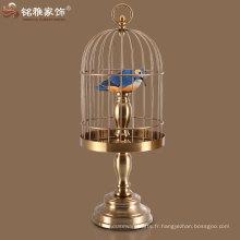 Matériaux en fer de couleur laiton cages pour décoration intérieure de table intérieure