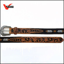 Fashion vintage morocco leather and braided belt
