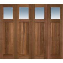 4 puertas exteriores de madera maciza de caoba y vidrio panle