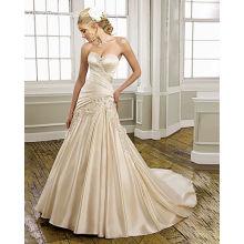 Sweetheart Strapless Satin Chapel Train Ruffled Manmade Flowers Wedding Dress