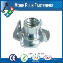 Made in Taiwan Stainless Steel Plain Finish Metric Brad Hole Prong Zinc Plated Standard Tee Nut