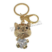 Katze jewely Hauptmatrial Rhinestone-Zink-Legierungs-Schlüsselkette