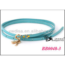 Blue Fashion Cow Leather Belts Womens Skinny Leather Belts Wholesale With Size 0.7cmW*87.5cmL BB0048-3
