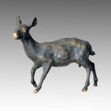 Animal estatua de ciervos cabeza giratoria de escultura de bronce Tpal-030