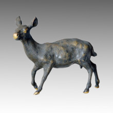Animal Statue Deer Swiveling Head Bronze Sculpture Tpal-030