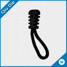 Black Plastic Rubber Zipper Puller with String for Garment