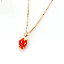 Petrol Dripping Charm Pendant Strawberry Necklace