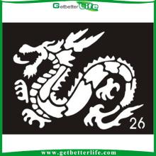 2015 Getbetterlife quente novo tatuagem temporária estêncil, estêncil do tatuagem do Zodíaco Chinês projeto purpurina