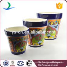 YSfp0007 Conjunto de 3 vaso de flores de cerâmica de forma redonda para varanda