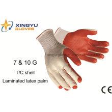 T / C Shell laminado de látex luva de trabalho de segurança (S1201)